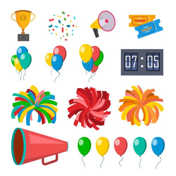 stockillustraties, clipart, cartoons en iconen met cheerleading icons set vector. cheerleaders accessoires. pompoms, ballonnen, confetti, megafoon. geïsoleerd plat cartoon afbeelding - cheering