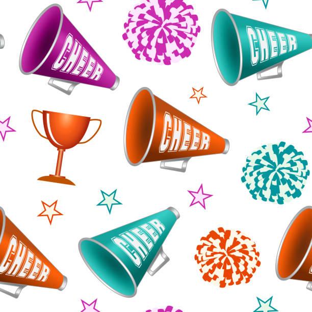 stockillustraties, clipart, cartoons en iconen met cheerleading. naadloze patroon - pompon