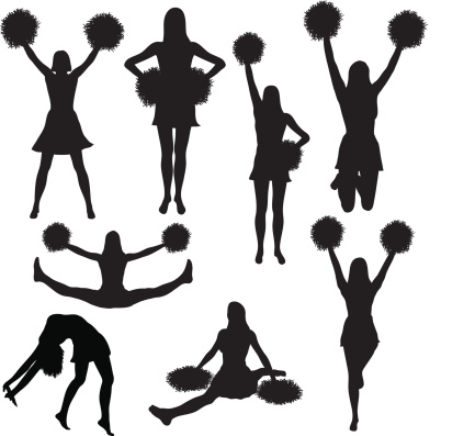 Cheerleading silhouette collection (vector)