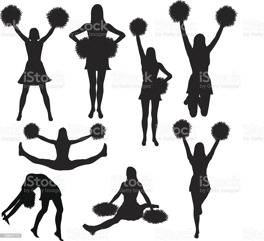 Cheerleading silhouette collection (vector) vector art illustration