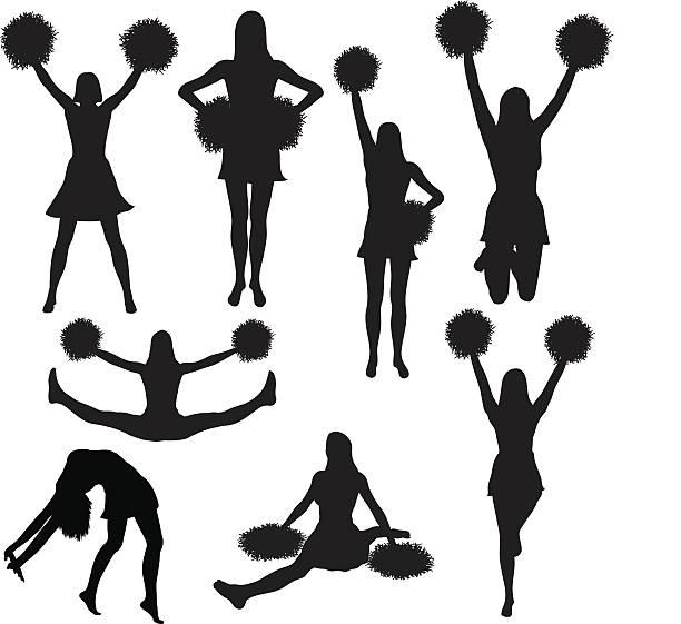 Cheerleading silhouette collection (vector) vector art illustration