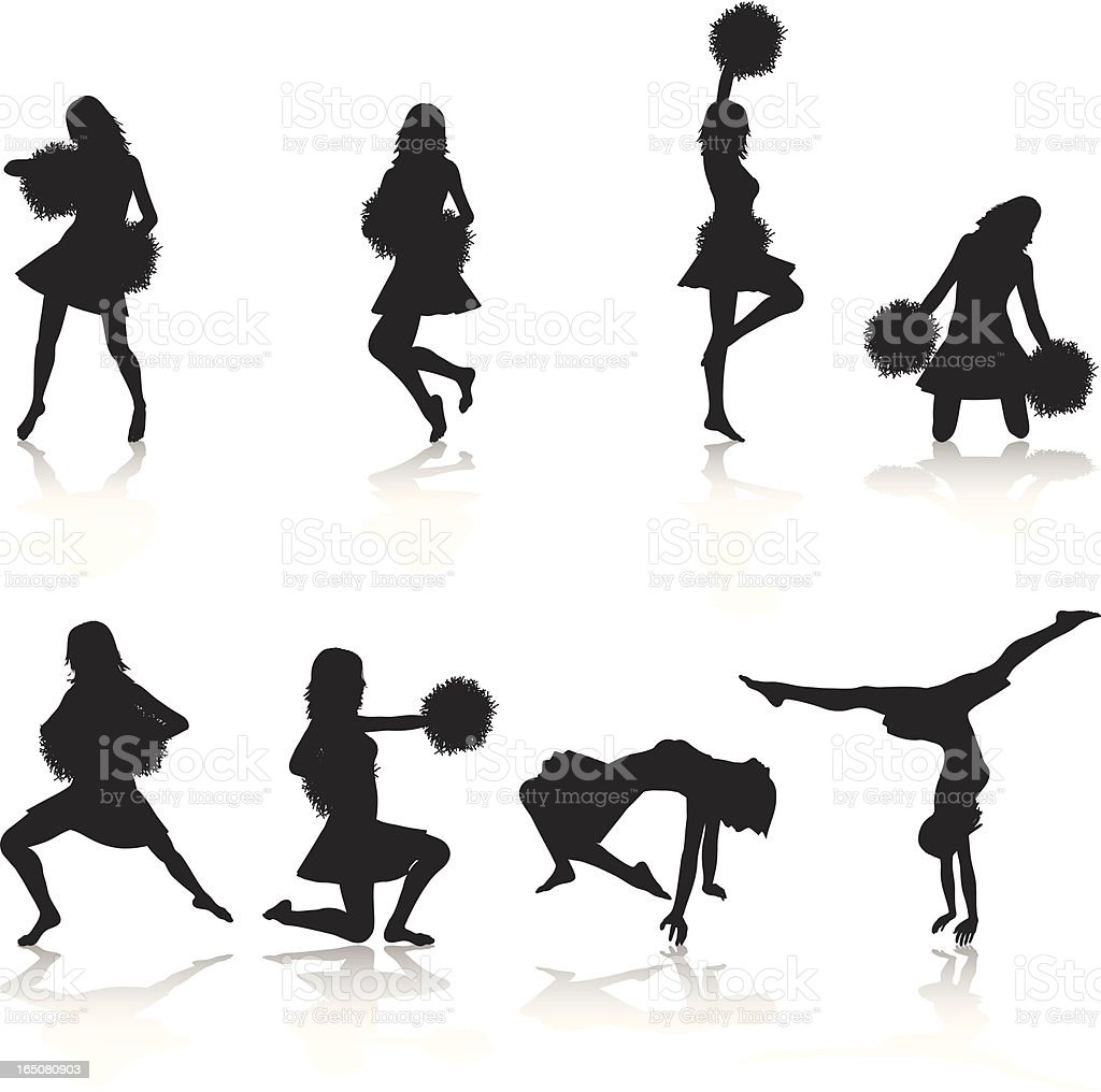cheerleading vector cheerleading silhouette collection stock vector art more 3822