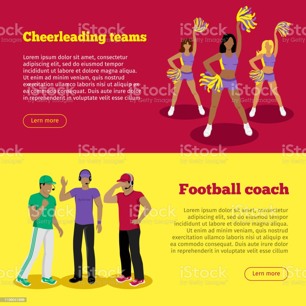 Cheerleading Teams Und Fussballtrainer Web Banner Stock