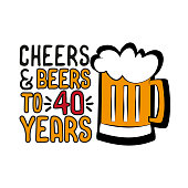 Cheers and Beers to 40 years- funny birthday text, with beer mug.