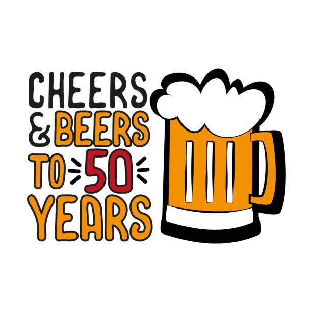 stockillustraties, clipart, cartoons en iconen met cheers en bieren tot 50 jaar-grappige verjaardag tekst, met bierpul. - getal 50
