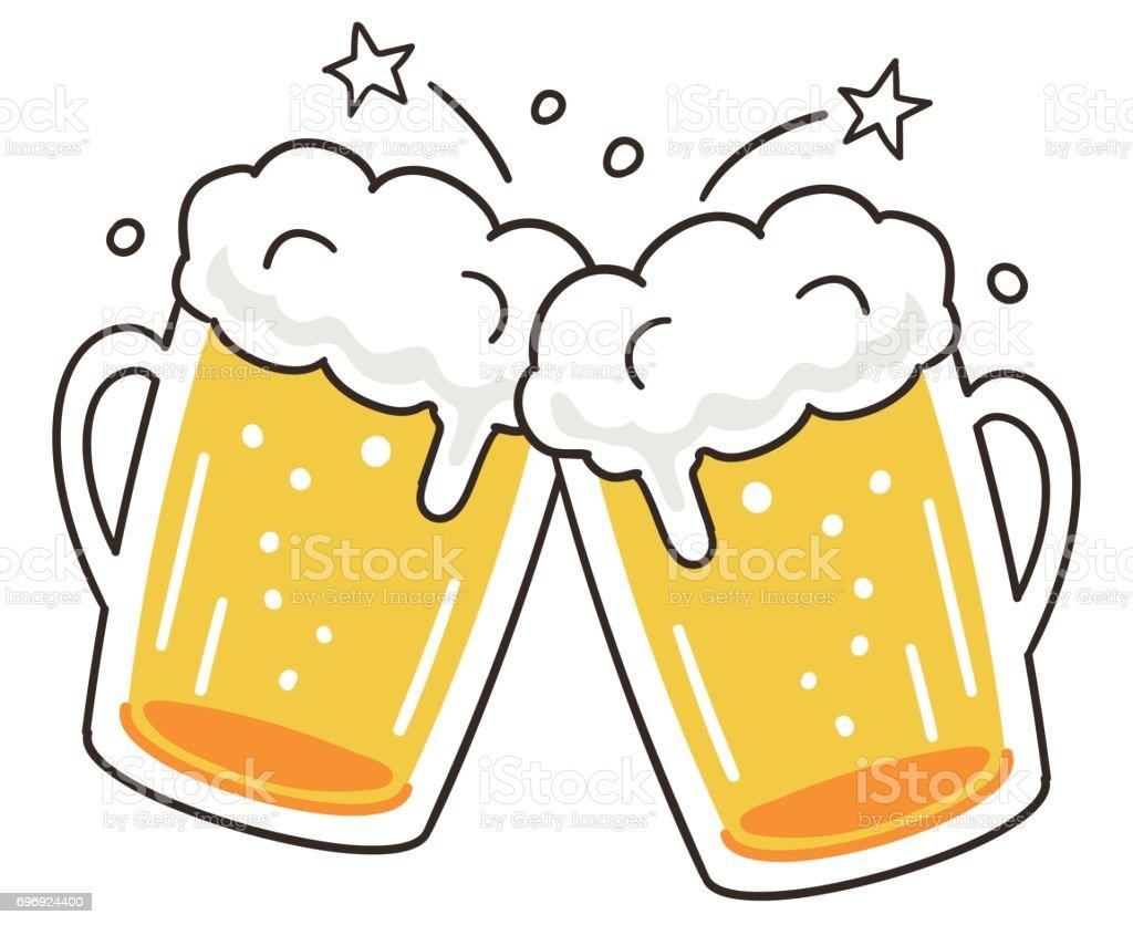 Cheers beer vector art illustration