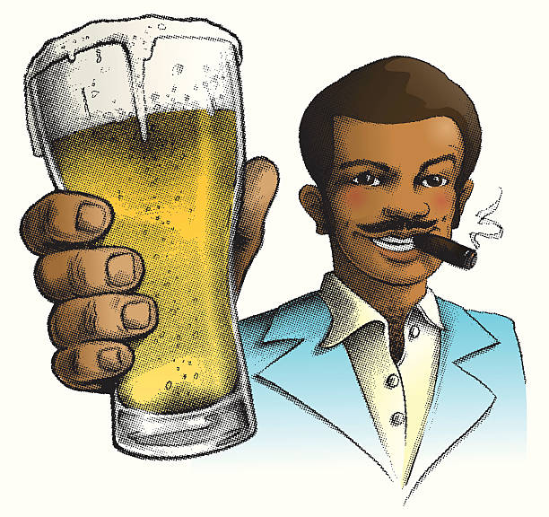 stockillustraties, clipart, cartoons en iconen met cheers, benny d. williams - guy with cigar