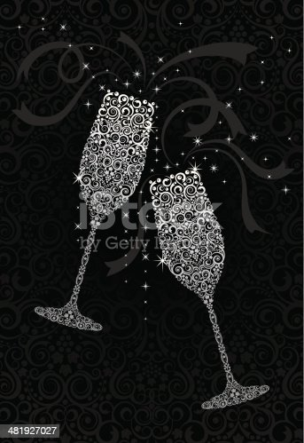 Stylized / lacy style champagne glasses for any special occasion. Highly detailed with grapes, vines, and bubbles.