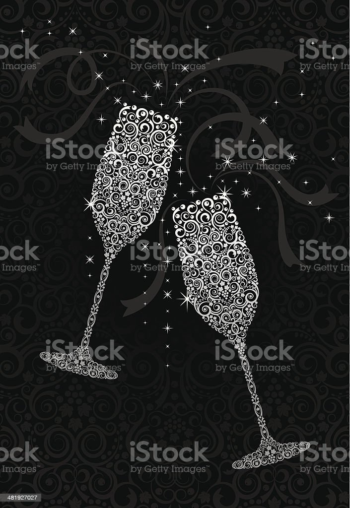 Cheers! Champagne Toast vector art illustration