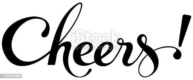 istock Cheers - custom calligraphy text 1235322865