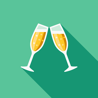 Cheers Flat Design Casino Icon with Side Shadow