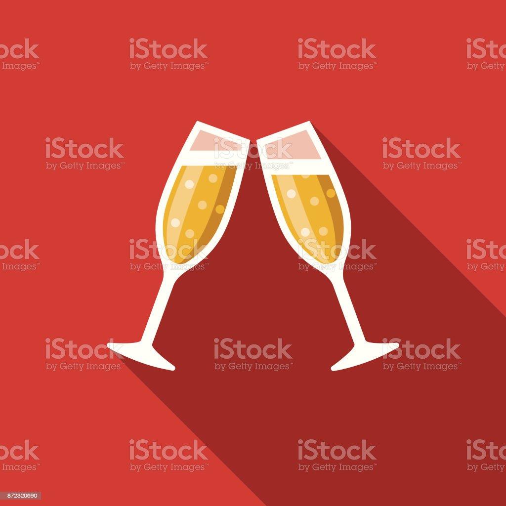 Cheers Flache Party Designikone Mit Seite Schatten Stock Vektor Art ...