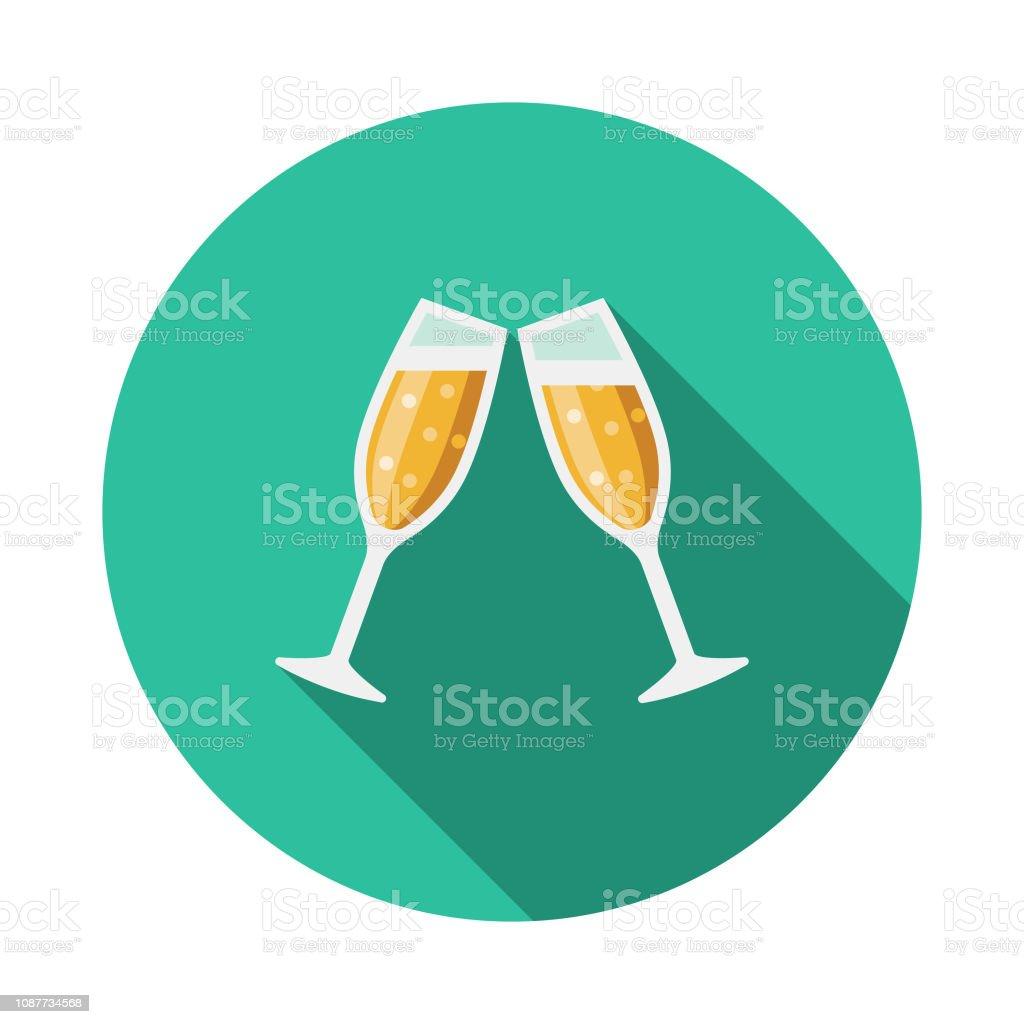 Cheers flache Designikone Prom – Vektorgrafik