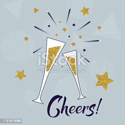 Cheers! hand lettering template with glasses of champagne. Celebration concept on blue background with golden stars and fireworks. Vector illustration. Holiday and birthday greeting card