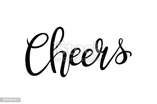 cheers handdrawn lettering decoration text on white