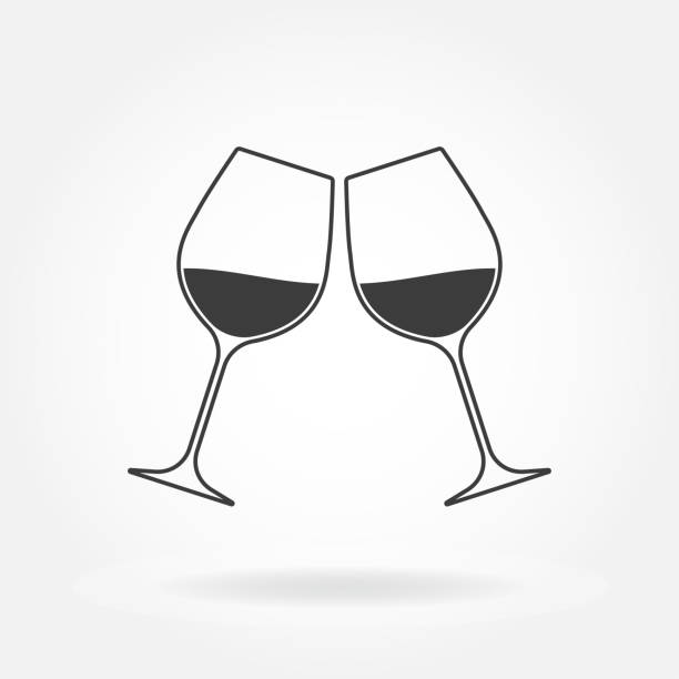 Cheers icon. Two wine glasses. Vector illustration. Cheers icon. Two wine glasses. Vector illustration. wineglass stock illustrations