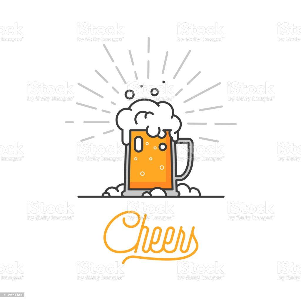 Cheers mate. Verre de bière isolé vector illustration, design minimal. Icône de bière Lager sur fond blanc. Boire de la bière avec vos amis. Bon à titre d'exemple de menu de pub. Boisson froide sur une chaude journée. - clipart vectoriel de Affaires libre de droits