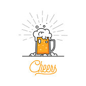 Cheers mate. Glass of beer isolated vector illustration, minimal design. Lager beer icon on white background. Drink beer with your friends. Good for pub menu illustration. Cold beverage on a hot day.