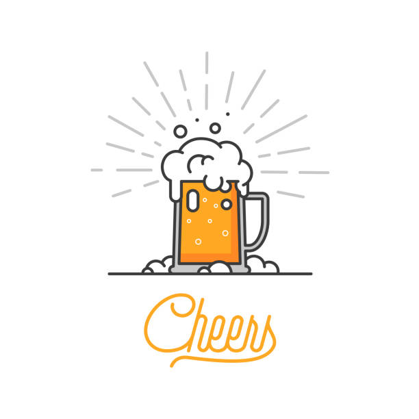 Cheers mate. Glass of beer isolated vector illustration, minimal design. Lager beer icon on white background. Drink beer with your friends. Good for pub menu illustration. Cold beverage on a hot day. Cheers mate. Glass of beer isolated vector illustration, minimal design. Lager beer icon on white background. Drink beer with your friends. Good for pub menu illustration. Cold beverage on a hot day. beer glass stock illustrations