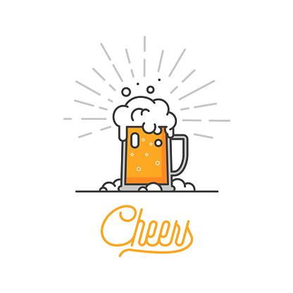 Cheers Mate Verre De Bière Isolé Vector Illustration Design Minimal Icône De Bière Lager Sur Fond Blanc Boire De La Bière Avec Vos Amis Bon À Titre Dexemple De Menu De Pub Boisson Froide Sur Une Chaude Journée Vecteurs libres de droits et plus d'images vectorielles de Affaires