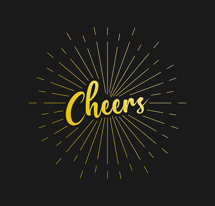 Cheers. Sunburst Line Rays. For Greeting Card, Poster and Web Banner. Vector Illustration, Design Template.