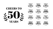 Cheers to 50 years lettering. Set of Birthday or Anniversary celebration typography. Easy to edit vector template for greeting card, banner, invitation, poster, flyer, sticker, t-shirt, etc.