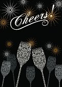 Stylized lacy champagne glasses with abstract fireworks background. Great for New Years, Christmas, Anniversaries, or any Celebration. Highly detailed with grapes, vines, and bubbles. Masked file for editing if needed.