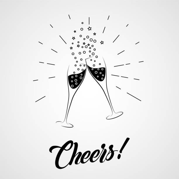 cheers! zwei champagner-gläser - einen toast ausbringen stock-grafiken, -clipart, -cartoons und -symbole