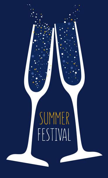 bildbanksillustrationer, clip art samt tecknat material och ikoner med skål - vin sommar fest