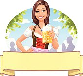 "A young woman in a traditional German ""Dirndl""-dress holding a beer mug, plus a banner ready for your text. EPS 10, everything grouped and labeled in layers."