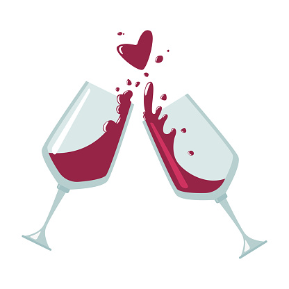 Cheers wine glasses vector flat icon isolated on a white background.