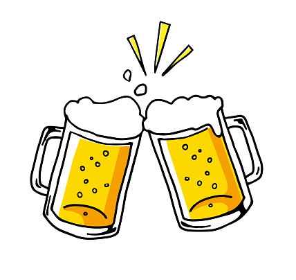 Cheers With Beer Icon Handdrawn Stock Illustration ...