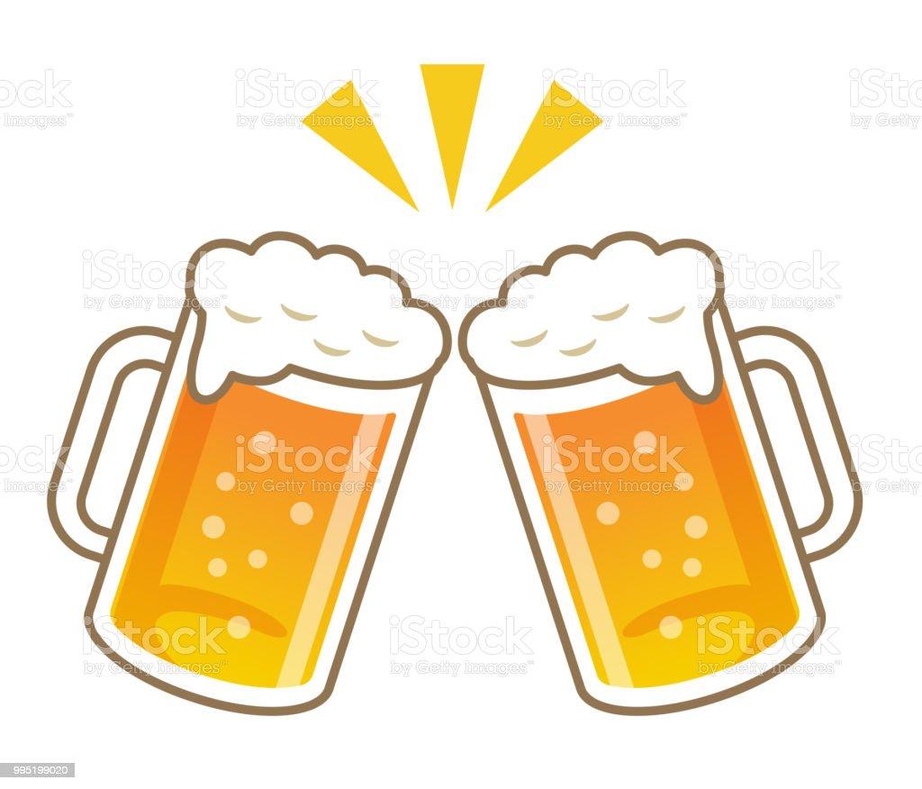Cheers mit Bier – Vektorgrafik