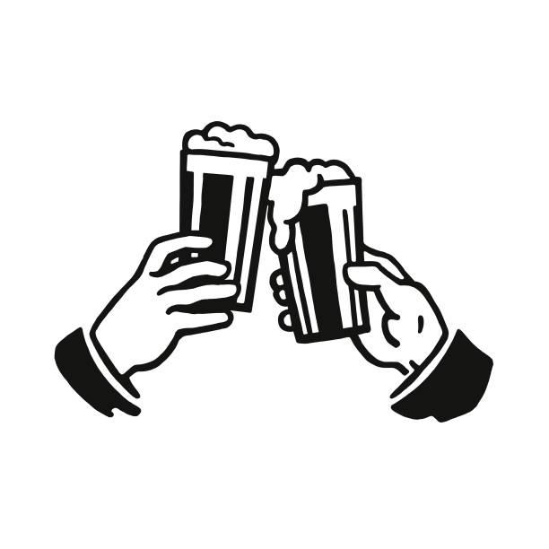 ilustrações, clipart, desenhos animados e ícones de brinde com dois copos de cerveja - brinde