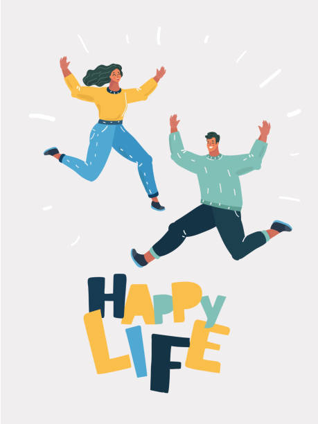 illustrazioni stock, clip art, cartoni animati e icone di tendenza di cheery young couple jumping together - couple portrait caucasian