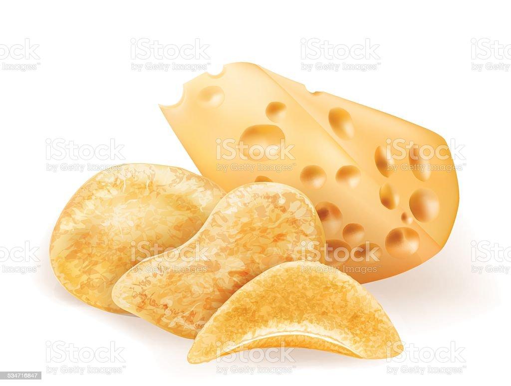 Chees and potatos chips vector art illustration