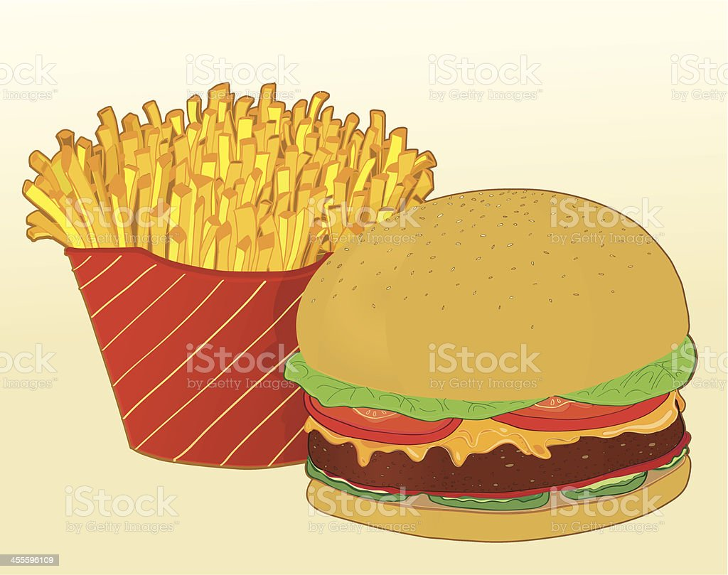 cheesburger and fries vector art illustration