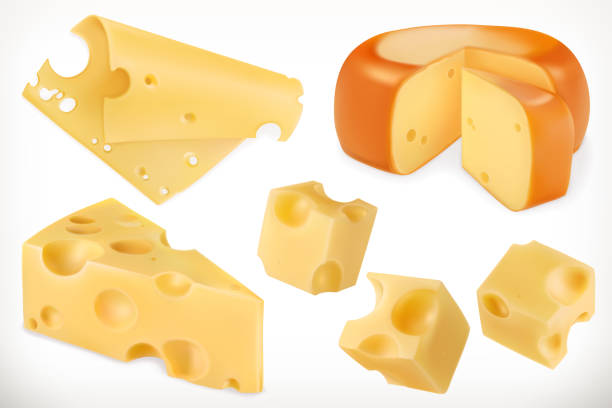 illustrazioni stock, clip art, cartoni animati e icone di tendenza di cheese. 3d vector icon set - formaggio