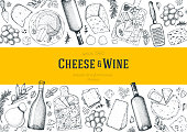Cheese and wine design template. Hand drawn sketch. Retro food background. Menu restaurant. Gourmet food set. Vintage cheese, spice, wine drawings. Dairy products frame