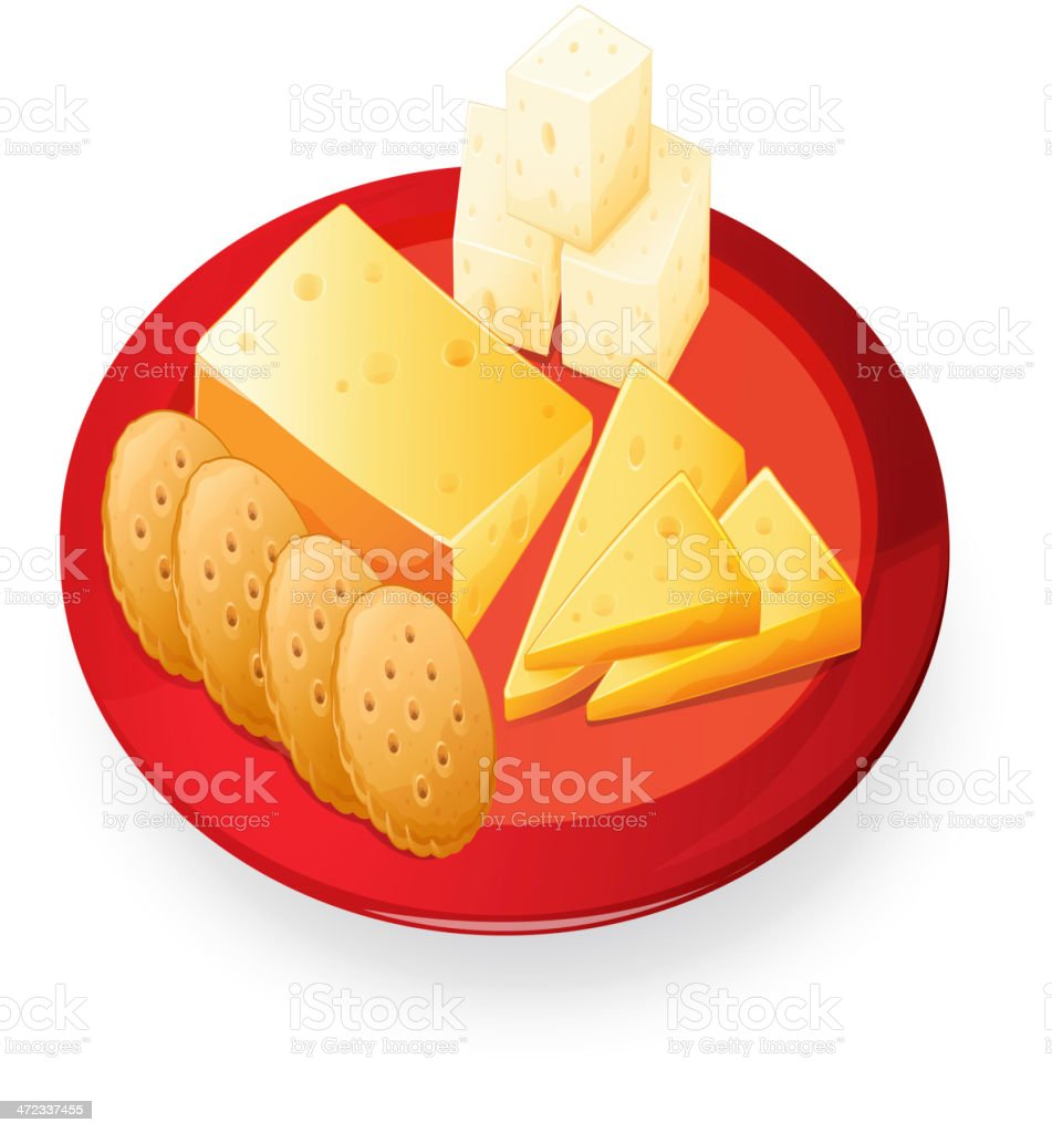 Cheese biscuits in plate vector art illustration