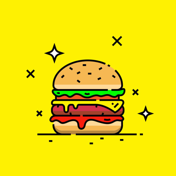 Cheese burger line icon Cheese burger line icon. Fast food hamburger graphic. Vector illustration. cheeseburger stock illustrations