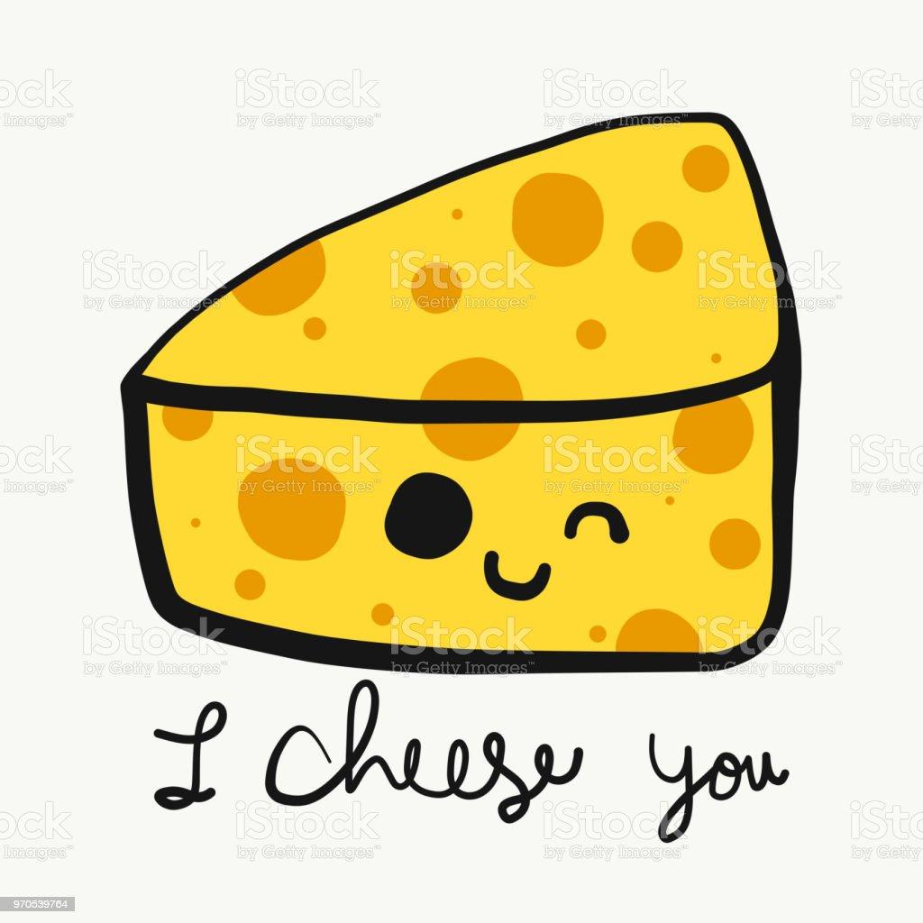 cheese cartoon smile face doodle vector illustration arte vetorial