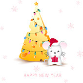 Cheese Christmas tree and cute mouse or rat (symbol of 2020 new year) with Santa red hat and gift box