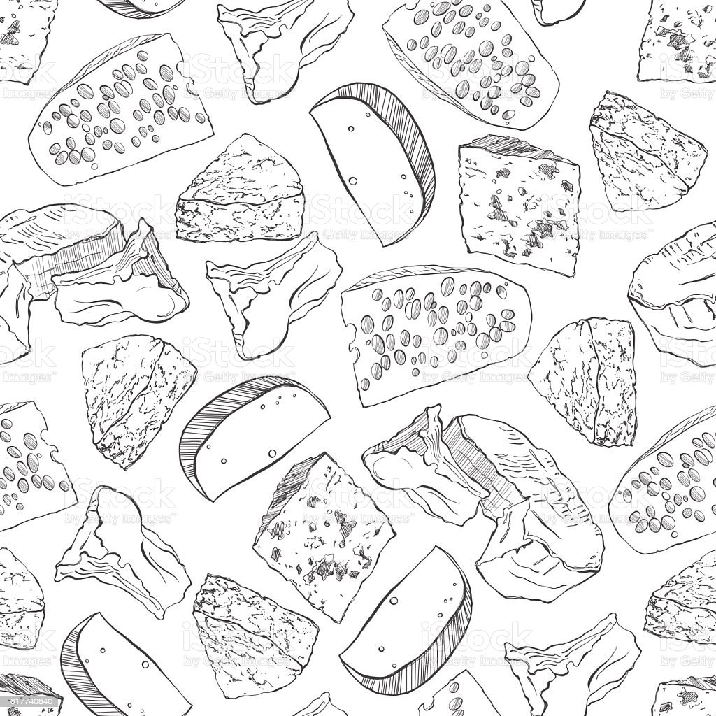 Cheese collection. Vector seamless pattern on a white background. - ilustración de arte vectorial