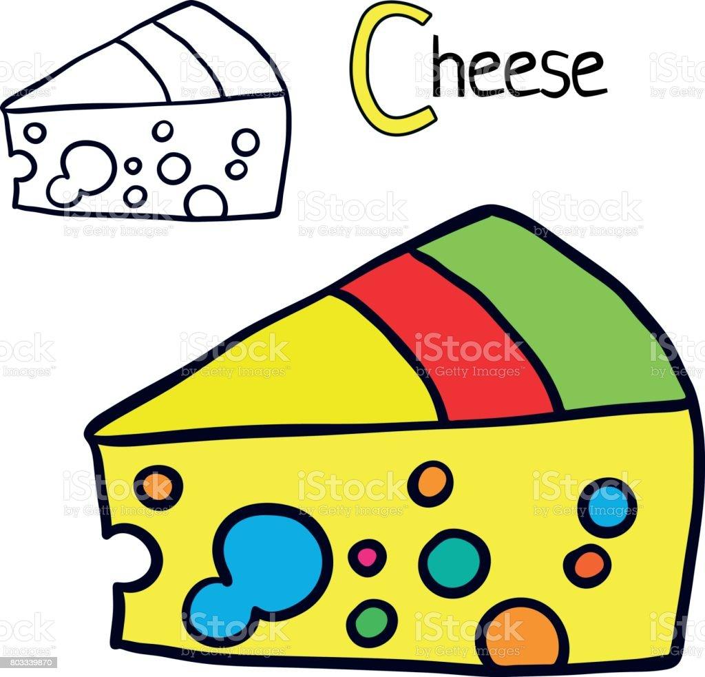 Peynir Boyama Kitabı Sayfası çizgi Film Vektör çizim Stok Vektör