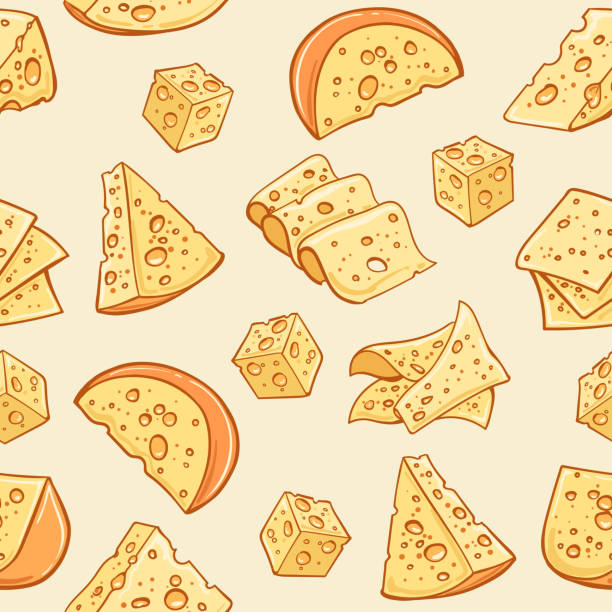 cheese doodle pattern - cheese stock illustrations