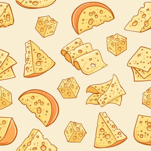 ilustrações de stock, clip art, desenhos animados e ícones de cheese doodle pattern - cheese