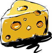 drawing of cheese, Elements are grouped.contains eps10 and high resolution jpeg.