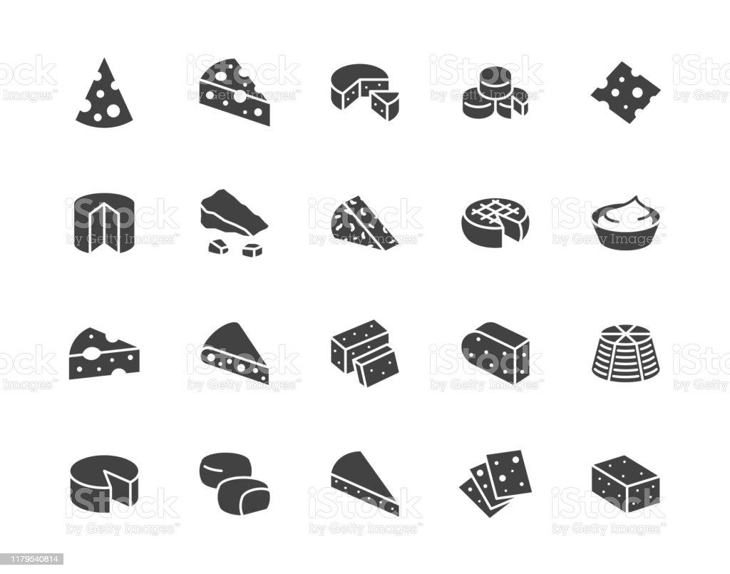 Сыр плоский глиф значки набор. Пармезан, моцарелла, йогурт, голландский, рикотта, масло, синие сыры кусок векторных иллюстраций. Черные выве� - Векторная графика Без людей роялти-фри
