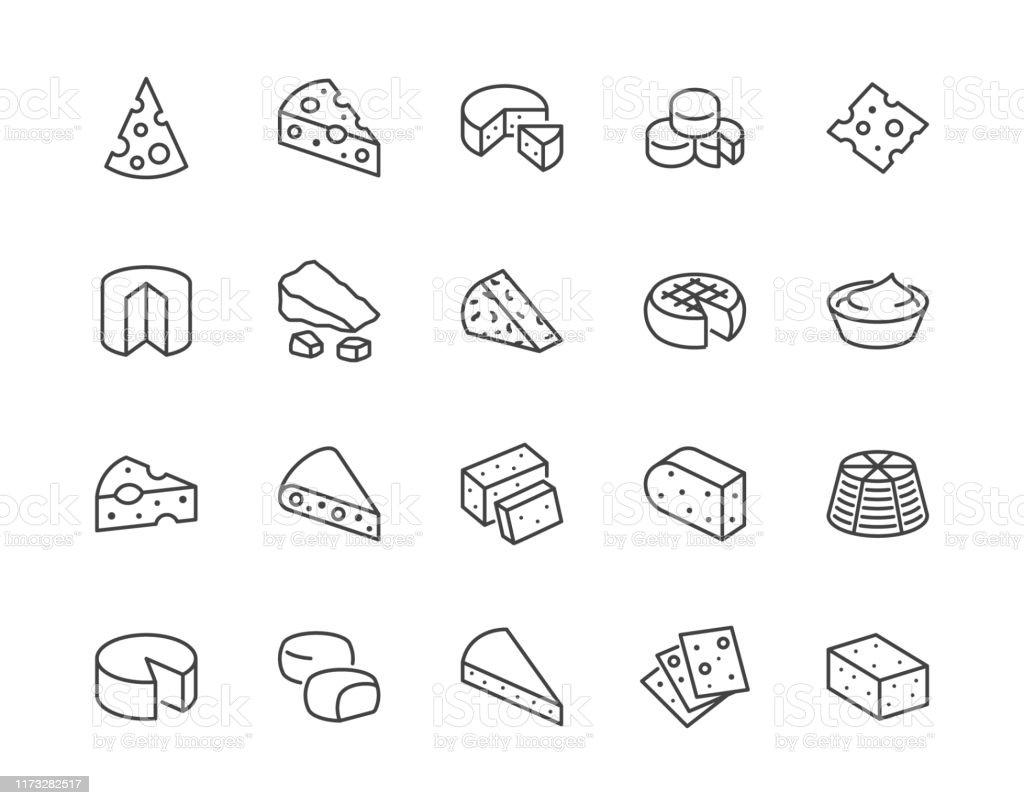 치즈 플랫 라인 아이콘 세트입니다. 파르메산, 모짜렐라, 요구르트, 네덜란드어, 리코타, 버터, 블루 치즈 조각 벡터 일러스트레이션. 유제품 매장의 개요 표지판. 픽셀 완벽한 64x64. 편집 가능한  - 로열티 프리 0명 벡터 아트